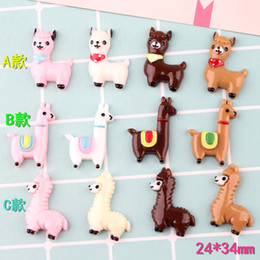 $enCountryForm.capitalKeyWord NZ - 100pcs 34*24mm Mix Cute little sheep resin lama Alpaca charms micro landscape creative accessories Keychain pendant DIY material
