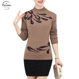 Middle age sweater online shopping - Autumn Winter Warm Pullovers Sweater Middle aged Women Flower Printed Wool Sweaters Female Noble Plus Size Knitting Shirt A681
