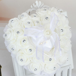 Pearl flower favor box online shopping - Romantic Heart Shape Ring Pillow Cushion with Rose Flowers Bowknot Ribbons Rhinetone Pearls Ring Box for Bridal Wedding Favor