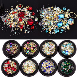 Wholesale Woman D DIY Nail Art Decorations Beauty Magic Crystal Rhinestone Gem Stone Geometry Cross Design Jewelry Accessory Nail Charms Tool cm Box
