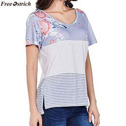 $enCountryForm.capitalKeyWord Australia - FREE OSTRICH women's comfort stitching print short-sleeved O-neck T-shirt Ladies summer loose casual T-shirts tops plus size