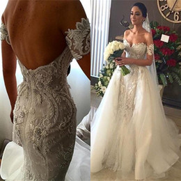 wedding dress short removable train NZ - 2019 Luxury White Wedding Dresses With Removable Tulle Overskirt Mermaid Lace Applique Sweetheart Neck Backless Court Train Bridal Gowns