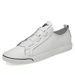 chunky sneakers 2019 - 2019 New Men Chunky Sneakers Lace-up Flat Casual Shoes with Platform Stylish Breathable Adult Male Flat shoes White 5JJD
