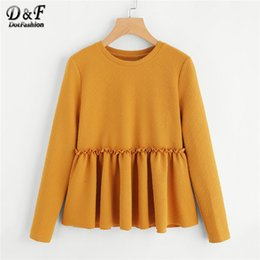 $enCountryForm.capitalKeyWord Australia - Dotfashion Ginger Ruffle Frilled Detail Textured Smock Womens Tops And Blouses 2018 Autumn Casual Top Long Sleeve Preppy Shirt