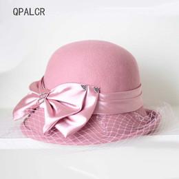 49fda7fbc2414 QPALCR Retro Wool Fedora Hat Women Mesh Bow Felt Hat Cap Ladies Fashion  Female Floral Bucket Hats Dome Trilby Fedoras Winter