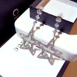 rhinestones korea UK - 925 Silver Post Korea INS Net Red The same flash diamond hollow five-pointed star rhinestone temperament exaggerated atmospheric earrings ea