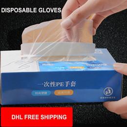 DHL transporte livre de alta qualidade descartáveis luvas transparentes PE 200 peças por lotes mãos de proteção luvas de cozinha casa limpeza doméstica em Promoção
