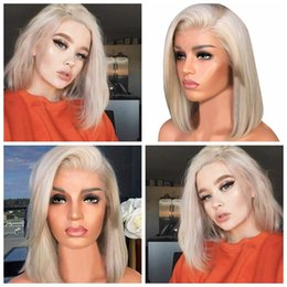 Straight half wigS online shopping - New Sexy High Quality Short Bob Wig Natural Straight Light Blonde Half Hand Tied Heat Resistant Synthetic Lace Front Costume Wig inch