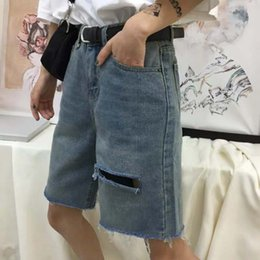 Hair Color Edges Australia - South Korean retro make old color casual hair edge hole with fashion handsome jeans shorts men and women