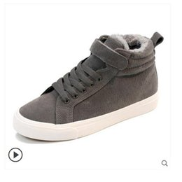 korean ladies canvas shoes UK - Casual cotton shoes women's winter thickening plus velvet ladies Korean version of autumn and winter wild new 2019 two cotton canvas sh