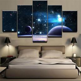 Vente en gros 5 panneaux psychédéliques Galaxy ciel étoilé oeuvre cadre HD imprime sur toile mur Art peinture peinture à l'huile décoration murale avec pour chambre d'enfants