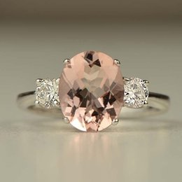 $enCountryForm.capitalKeyWord Australia - Classic Pink Crystal Paved Egg Stone Rings European Beauty Women Luxury Cubic Zirconia Wedding Engagement Silver O5x618