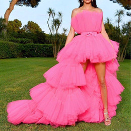 Side high low prom dreSSeS online shopping - 2020 New High low Prom Dresses with Detachable Train Unique Tiered Tulle Skirt Evening Dress Hot Pink Fuchsia Formal Party Gowns