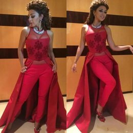 $enCountryForm.capitalKeyWord NZ - Two Pieces Burgundy Prom Dresses With Tight Pants 2018 Beaded Women Jumpsuits Dresses Evening Wear High Neck Myriam Fares Long Party Dress