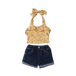 Discount girls fashion belt shirts - Fashion Toddler Kids Baby Girls Outfits Clothes Sets Flowers Sleeveless Belt T-shirt Tops&Denim Short