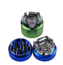 devil alloys Canada - The latest 50MM size aluminum alloy material four-layer devil ghost head press smoking set smoke grinder manual metal smashing device