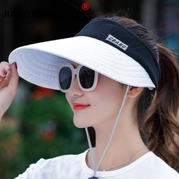 ca93719376d wholesale 1PCS women summer Sun Hats pearl packable sun visor hat with big  heads wide brim beach hat UV protection female cap