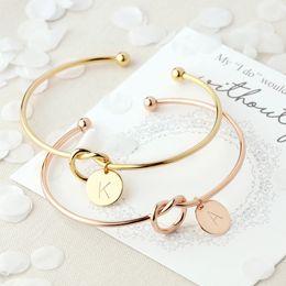 $enCountryForm.capitalKeyWord Australia - Fashion Simple Twist Cuff Open Knot Bangles Disc Initial Letter Charm Bangle Bracelet for Women Rose Gold Color Letter Bangles