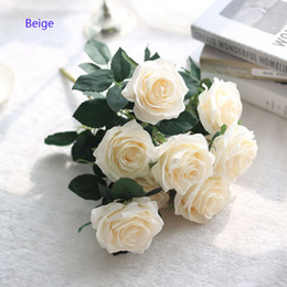 10 Rosas / Bundle DIY Ramo de Novia 45 cm Flor Falsa Banquete Hotel Cafe Dormitorio Florero Decoración de la Fiesta de Flores Artificiales en venta