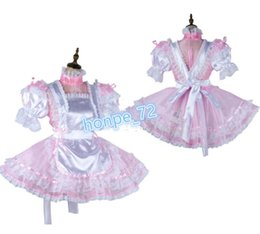 Maids outfits online shopping - Sissy maid Organza Satin dress see through Outfit Tailor made