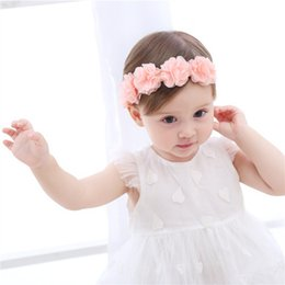 Discount flower tiara for babies - Baby Headband Flowers Girls Pink Ribbon Hair Bands Handmade Headwear Hair Elastic Tiara For Girl Newborn Babies Accessor