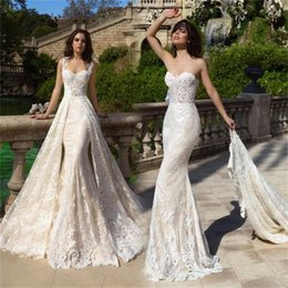 Organza Mermaid Wedding Dress Feathers Australia - 2019 Overskirts Wedding Dresses Sexy Mermaid Scoop Neckline Lace Wedding Dress with Detachable Train Bridal Gowns Beaded Belt Formal Gown