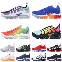 Badminton Games Australia - 2019 TN Plus Running Shoes Men Women New Rainbow Photo Blue Game Royal Triple Black Designer Sneakers Sport Shoes Size 5.5-11
