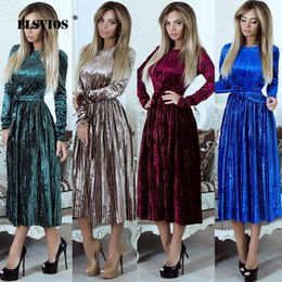 slim fitting maxi dresses NZ - Elsvios 2018 Autumn Winter Velvet Pleated Dress Women Slim Fit Ol Elegant Party Dress Vintage Warm Long Midi Dress With Sashes Y190427