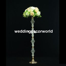 tall flower stands for centerpieces Australia - New style Wholesale wedding decoration gold crytal tall flower stand wedding table centerpieces event decoration for wedding 1086