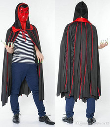 Mantle Clothes Australia - Pop Vogue Halloween Cosplay Cloak Party Unisex Vampires With Mask Suit Pattern Performance Mantle Clothes Cape