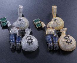 $enCountryForm.capitalKeyWord Australia - Hip-hop personality, hand-carrying dollar bill, beautiful money bag, bald child, color, zircon, local pendant