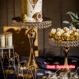 house plates NZ - New arrive Gold Crystal cake stand set Electroplating gold mirror face fondant cupcake sweet table candy bar table decorating