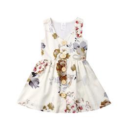 Crianças da criança do bebê meninas florais botões princesa mangas vestido de festa roupas vestidos de verão vestido de verão venda por atacado