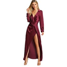 $enCountryForm.capitalKeyWord UK - Burgundy Sexy Party Dress Satin Front Twist Wrap Dress Lapel Deep V Neck Long Sleeve Split Maxi Shirt