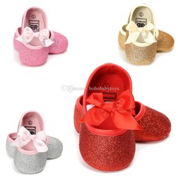 Discount girls black colour shoes Four Colours Bright Baby Princess Shoes Baby Girls Walking Shoes Soft-soled Anti-skid Single Shoes 0-1 Year Old Spring and Autumn