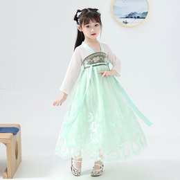 girls chinese costumes Australia - Traditional Chinese Hanfu Girls Green Dress Tang Dynasty Costume Children Classical Dance Clothes Stage Festival Outfit DN5415
