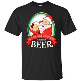 Wholesale Funny Christmas Santa Beer T shirt Most Wonderful Time For A Beer Xmas Gift