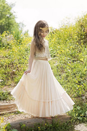 $enCountryForm.capitalKeyWord Australia - 2019 Beautiful Two Pieces Boho Flower Girls Dresses Sequins Lace Chiffon Champagne Prom Pageant Dress For Teens Kids Wedding Gowns