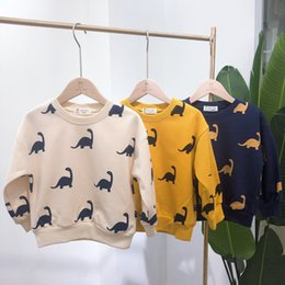 $enCountryForm.capitalKeyWord Australia - Multi Colors fall Boy clothing Kids Long Sleeve O-neck Cartoon Dinosaur all match t shirt Boy kid comfortable t shirt