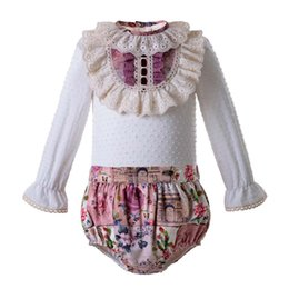 Toddlers bouTique online shopping - Pettigirl Spanish Style Baby Girl Clothes Set Floral Printed Lace Kid Clothing Sets Boutique Toddler Girl Designer Clothes U DMCS106 B326