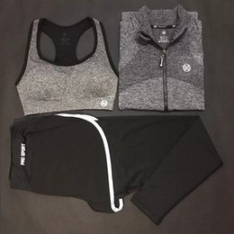 Fitness Jumpsuit For Women Australia - 3pcs Jackets Bra Pants Dry Fit Yoga Set Women Sport Set Gym Clothes Sports Fitness Jumpsuit Women Yoga Suit for Girls Meditation #556450