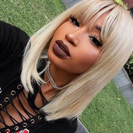 blonde wig full bangs Australia - Honey Blonde Short Lace Front Wigs Colored With Bangs Glueless Bob Cuts Virgin Brazilian Full Lace Brazilian Short Wig Blonde With Bang