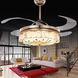 Nickel Fan Australia - Invisible Ceiling Fans Living Room Remote Control Fan Lights Bedroom Simple Modern Retractable Belt LED Mute Electric Fan Chandeliers