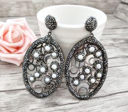 Black Pearl Drops Australia - Fashion water-drop earrings Pave Black Rhinestone pearl Earrings charm Handmade Jewelry For Women ER669
