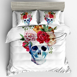 Discount 3d floral duvet cover twin set Floral Skeleton Bedding Set 3pcs Cute Creative Design Duvet Cover Pillowcases AU Size Single Double Queen King