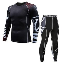 Body Fitness Suit Australia - The new 2019 men's suit lightning compression shirt long-sleeved T-shirt trousers male fitness body sweating quick-drying shirt