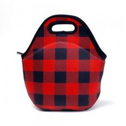 Blank red online shopping - Red Plaid Food Carrier Bag Lunch Box Bag Neoprene Women Picnic Bag Team Accessories Blanks Holder Tote Storage Handbags GGA1486