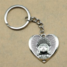 Silver Antiques Australia - 1 Piece Keyring Split Ring Buddha In Heart Birthday Party Supplies New Year Gifts 32x32mm Pendant Antique Silver
