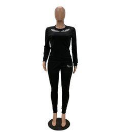 Yoga Pants Jacket UK - 2019 Big Eye Hot Drill sports suit long sleeved jacket + long pants fitness suit Yoga jogging sportswear