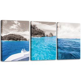 Ocean Frames Australia - Blue Ocean Sea Home Art Decor Seaview Canvas Prints Landscape Picture Framed Wall Art for Bedroom